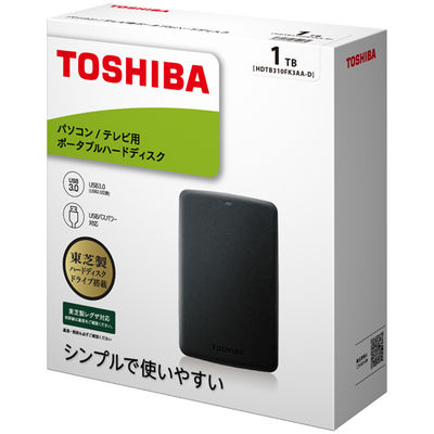 東芝 ポータブルハードディスク 1TB ブラック HDTB310FK3AA-D 1台  (直送品)