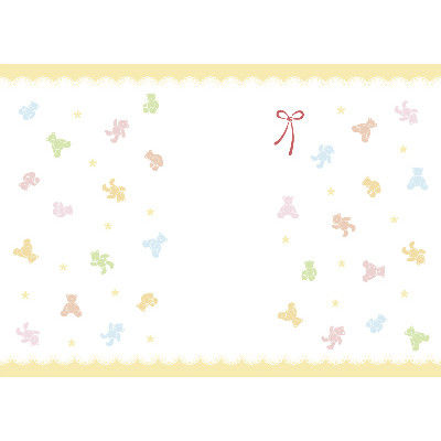 ササガワ 新のし紙 A3判 パステルベア 出産祝用 4-2050 100枚(100枚袋入) (取寄品)