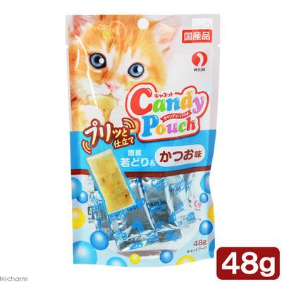 ペットライン 猫用 キャンディーパウチ プリッと仕立て 国産若どり&かつお味 48g 394709 1セット(2個入)