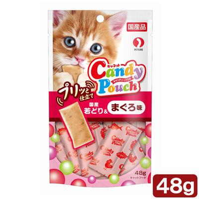 ペットライン 猫用 キャンディーパウチ プリッと仕立て 国産若どり&まぐろ味 48g 394706 1セット(6個入)