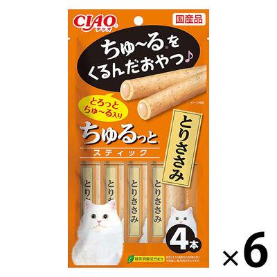 いなばペットフード 猫用 ちゅるっとスティック とりささみ 4本 249043 1セット(6個入)