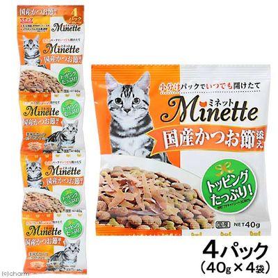 スマック ミネット 猫用 国産かつお節添え 40g×4パック 国産 205063 1セット(6個入)
