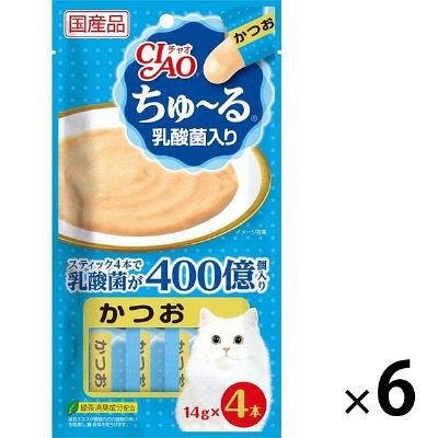 いなばペットフード 猫用 ちゅ~る 乳酸菌入り かつお 14g×4本 394037 1セット(6個入)