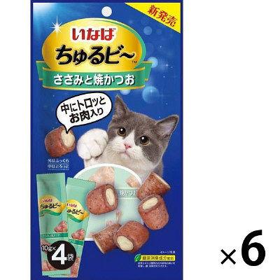 いなばペットフード ちゅるビ~ ささみと焼かつお 10g×4袋 394062 1セット(6個入)