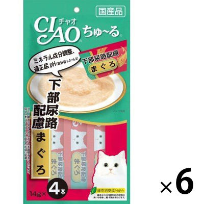 いなばペットフード 猫用 ちゅ~る 下部尿路配慮 まぐろ 14g×4本 394040 1セット(6個入)