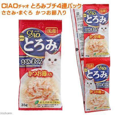 いなば CIAO(チャオ)猫用 とろみ プチ ささみ・まぐろ かつお節入り 35g×4 166381 1セット(6個入)