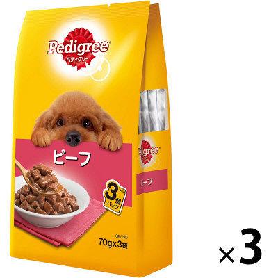 Pedigree ペディグリー 成犬用 ビーフ 70g×3袋 245677 1セット(3個入)