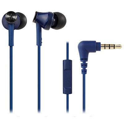 オーディオテクニカ スマートフォン用インナーイヤーヘッドホン ブルー ATH-CK350iS BL 1個  (直送品)