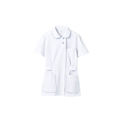 住商モンブラン レディスジャケット(ナースジャケット) 半袖 白/サックスブルー M A73-1424