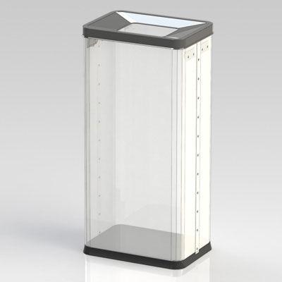 ぶんぶく 透明角型オープン屑入・袋止め付 OSM-P-1B (直送品)
