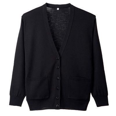 ディーフェイズ 抗ピル長袖カーディガン (ポケット付き) ブラック LL D1011 (直送品)