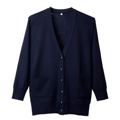 D-PHASE(ディーフェイズ) 抗ピル長袖ロングカーディガン(ポケット付き) 女性用 濃紺 L D1012 (直送品)