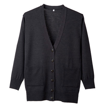 D-PHASE(ディーフェイズ) 抗ピル長袖ロングカーディガン(ポケット付き) 女性用 グレー LL D1012 (直送品)