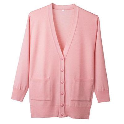 ディーフェイズ 抗ピル長袖ロングカーディガン (ポケット付き) ピンク L D1012 (直送品)