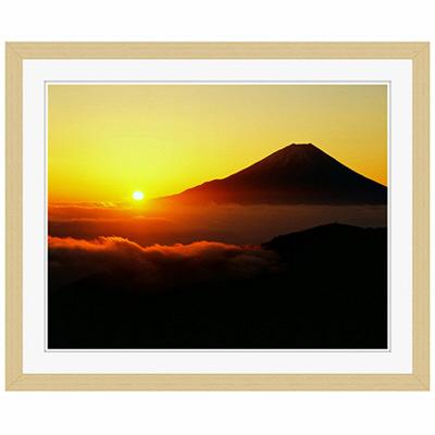 アートプリントジャパン 「丸山林道より望む富士山 日の出」 フレーム/S/木目 1枚
