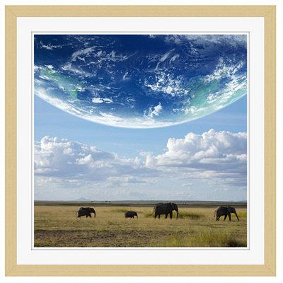 アートプリントジャパン 「地球とアフリカ象」 フレーム/M/木目 1枚