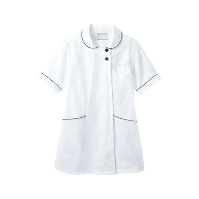 住商モンブラン ラウンドカラージャケット 半袖 ホワイト×ネイビー S 73-1968 (直送品)