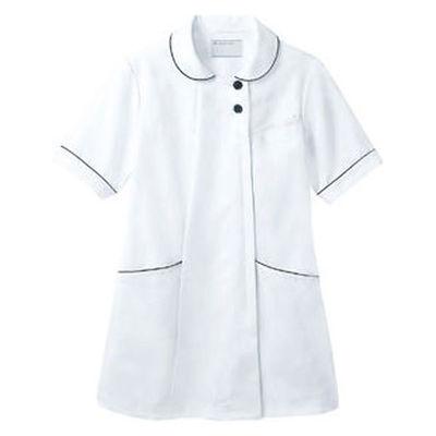 住商モンブラン ラウンドカラージャケット 医療白衣 レディス 半袖 ホワイト×ネイビー M 73-1968 (直送品)