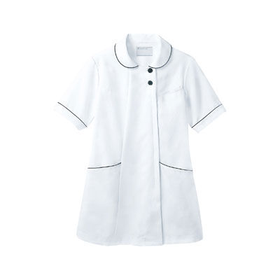 住商モンブラン ラウンドカラージャケット 半袖 ホワイト×ネイビー L 73-1968 (直送品)
