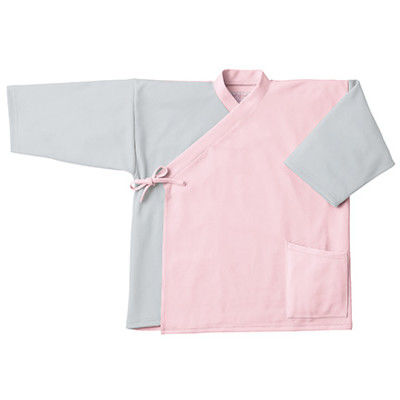 フォーク 検診衣(ジンベイ型) 検査着 患者衣 男女兼用 ピンク×グレー LL 7004SK (直送品)