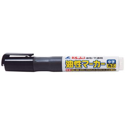 シンワ測定 工事用 油性マーカー 中字 角芯 黒 78430 1セット(10本) (直送品)