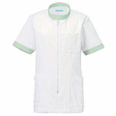 KAZEN ジャケット半袖男女兼用 247 ミント SS 白衣 1枚 (直送品)
