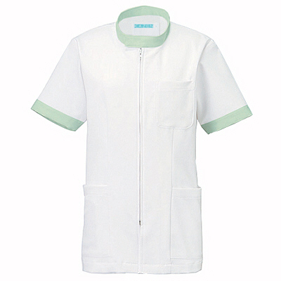 KAZEN ジャケット半袖男女兼用 247 ミント L 白衣 1枚 (直送品)