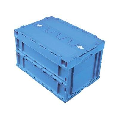 積水テクノ成型 折りたたみコンテナ OC-50L ロック付フタ一体型 ブルー 5LRFSB 1セット(4台入) (直送品)