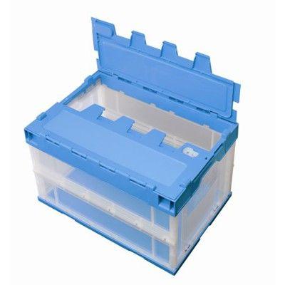 積水テクノ成型 折りたたみコンテナ OC-50L ロック付フタ一体型 透明ブルー 5LRFSCB 1セット(4台入) (直送品)