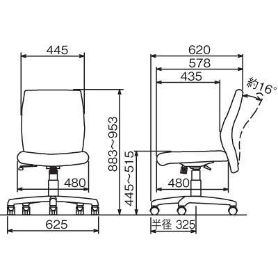 ナカバヤシ ツートンカラーOAチェア オフィスチェア 肘無し ベージュ RZC-603LBR 1脚 (直送品)