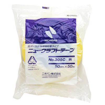 ニチバン ニュークラフトテープ No.305C 黄 50mm×50m巻 305C2-50 1箱(50巻入)