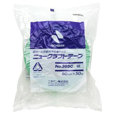 ニチバン ニュークラフトテープ No.305C 緑 50mm×50m巻 305C3-50 1箱(50巻入)