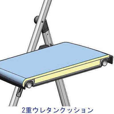アイリスチトセ 水平スタッキング折りたたみチェア ダブルクッションタイプ ブラウン/ホワイト 1脚 (直送品)