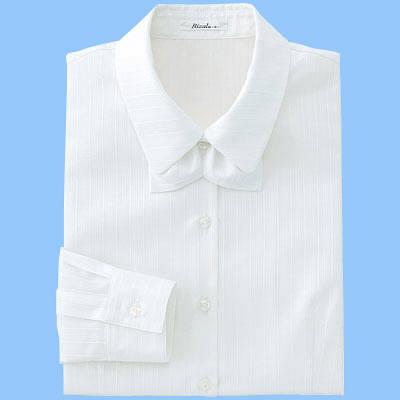 BON(ボン) 事務服 小さいサイズ 長袖ドビーストライプブラウス ホワイト 7号 HW4125A (取寄品)