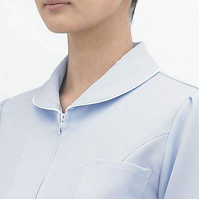 AITOZ(アイトス) ナースジャケット(パイピング) 女性用 半袖 サックスブルー 4L 861338-007 (直送品)