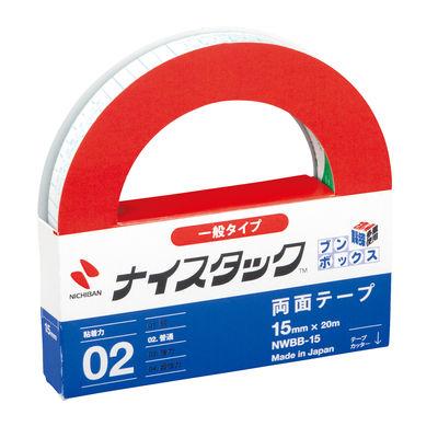 ニチバン ナイスタック(TM) 紙両面テープ 幅15mm×20m NWBB-15 1セット(50巻入)