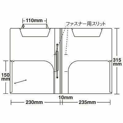 日本ホップス CF-A4L-1CF2WSTH カルテフォルダー 見開き(ビニールコーティングファスナー1本付) A4ヨコ 1箱(250枚入) (直送品)