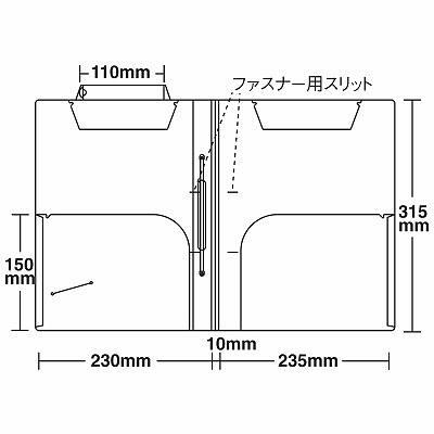 日本ホップス CF-A4L-1CF2WST カルテフォルダー 見開き(ビニールコーティングファスナー1本付) A4ヨコ 1セット(250枚入×2箱) (直送品)