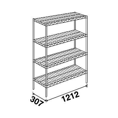 エレクター スーパーエレクターシェルフ4段 4SS1220P1900 (直送品) W1212×D307×1892