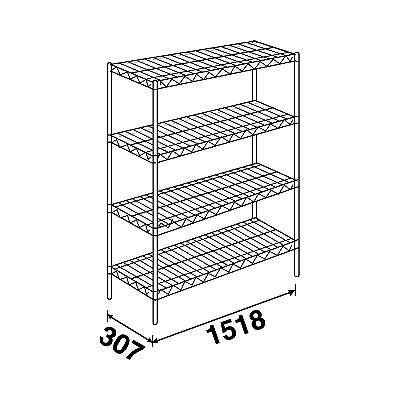 エレクター スーパーエレクターシェルフ4段 4SS1520P1900 (直送品) W1518×D307×H1892