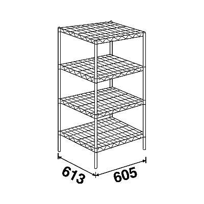エレクター スーパーエレクターシェルフ4段 4LS610P1900 (直送品) W605×D613×H1892