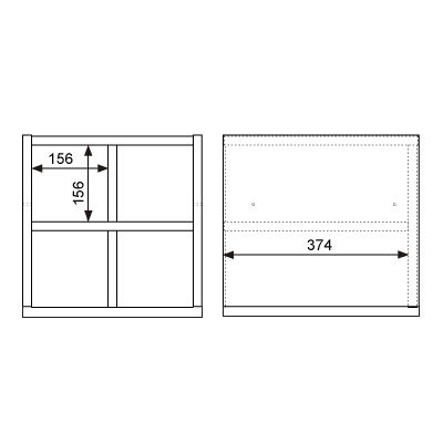 Garage(ガラージ) キューブコンポラック 飾り棚 下置き専用 白 幅366mm 奥行400mm 高さ376mm 1台 (直送品)