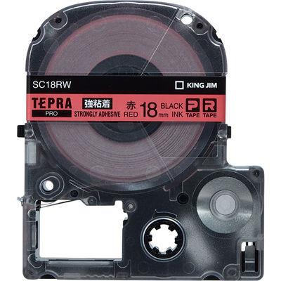 キングジム テプラ PROテープ 強粘着 18mm 赤ラベル(黒文字) 1個 SC18RW