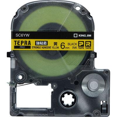 キングジム テプラ PROテープ 強粘着 6mm 黄ラベル(黒文字) 1個 SC6YW