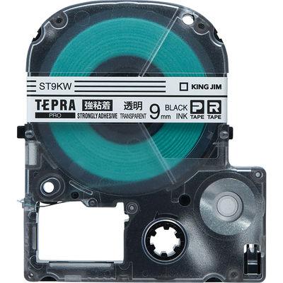 キングジム テプラ PROテープ 強粘着 9mm 透明ラベル(黒文字) 1個 ST9KW