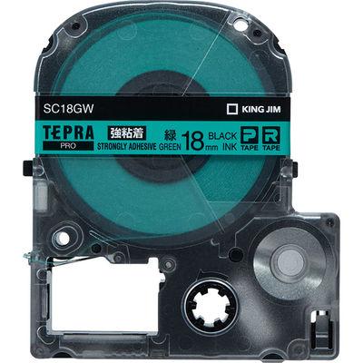 キングジム テプラ PROテープ 強粘着 18mm 緑ラベル(黒文字) 1個 SC18GW