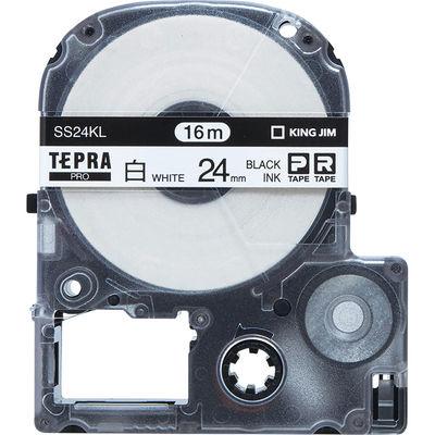 キングジム テプラ PROテープ ロングタイプ(16m巻) 24mm 白ラベル(黒文字) 1箱(5個入) SS24KL-5P
