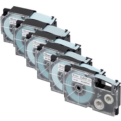 カシオ ネームランドテープ エコテープ 9/12/18mm 白・透明テープ(黒文字)  1パック(6個入) XR-TAPE-SET1