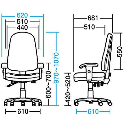サンワサプライ MAハイバックチェア オフィスチェア 肘付 ブルー SNC-5MTBL 1脚 (直送品)