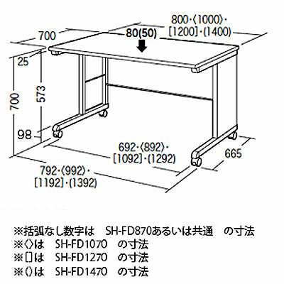 サンワサプライ SH-FDシリーズ SOHOデスク(キャスター付) 平机 引出し無し ライトグレー 幅800×奥行700×高さ700mm 1台 (直送品)